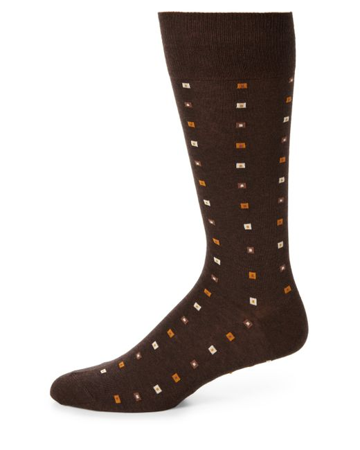 Saks Fifth Avenue | Brown Printed Cotton-blend Dress Socks for Men | Lyst