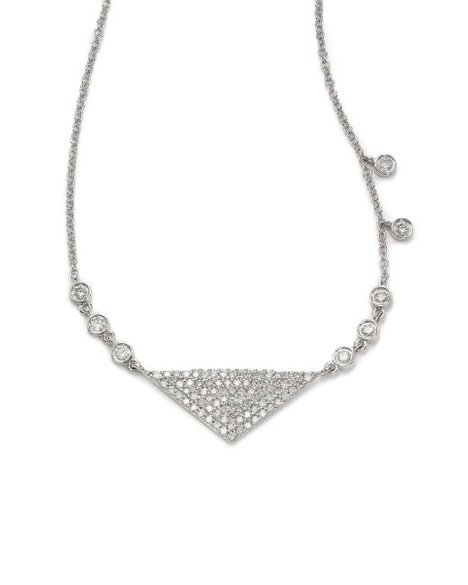 Meira T | Diamond & 14k White Gold Six-bezel Triangle Necklace | Lyst
