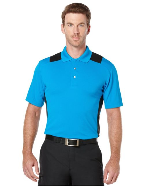 Pga tour big tall airflux colorblocked performance golf for Big and tall golf shirts