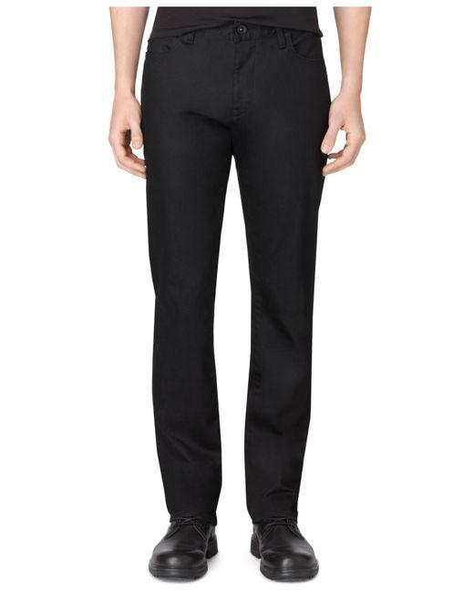 Calvin klein men 39 s stretch black slim straight fit jeans for Calvin klein slim fit stretch shirt