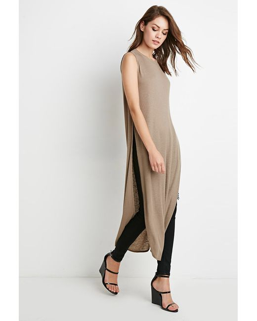 Forever 21 | Brown High-slit Ribbed Knit Top You've Been Added To The Waitlist | Lyst