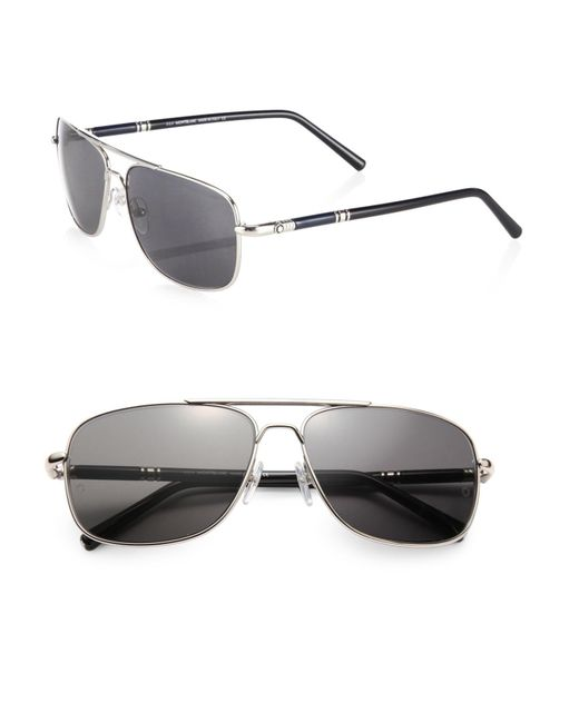 Montblanc | Metallic 60mm Navigator Sunglasses for Men | Lyst