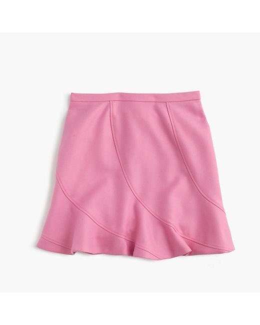 J.Crew | Purple Flutter Mini Skirt In Double-serge Wool | Lyst