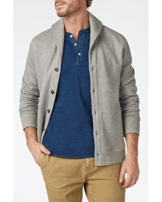Faherty Brand - Gray Herringbone Shawl Cardigan for Men - Lyst