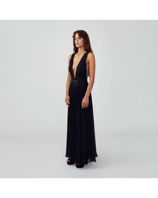 44a42adfc32 ... Lyst Fame   Partners - Black Plunging Pleated Jumpsuit ...