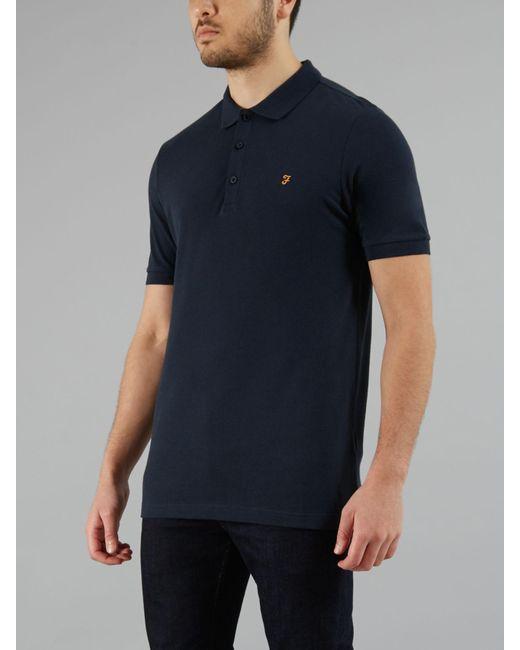 5505dc9737e Farah - Blue The Blaney Short Sleeve Polo Shirt for Men - Lyst ...