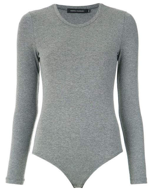 Andrea Marques - Gray Long Sleeves Bodysuit - Lyst