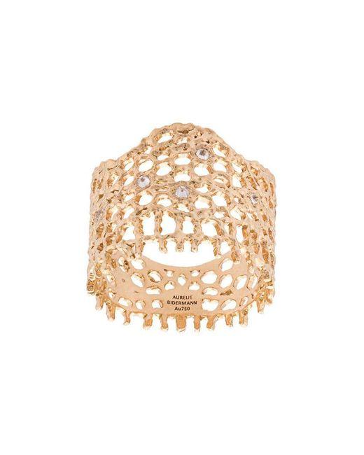 Aurelie Bidermann - Metallic 18kt Yellow Gold & Diamond Lace Ring - Lyst