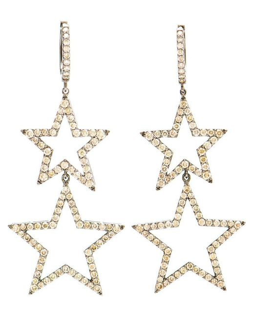 Rosa De La Cruz - Metallic Burnished Gold And Brown Diamond Star Earrings - Lyst