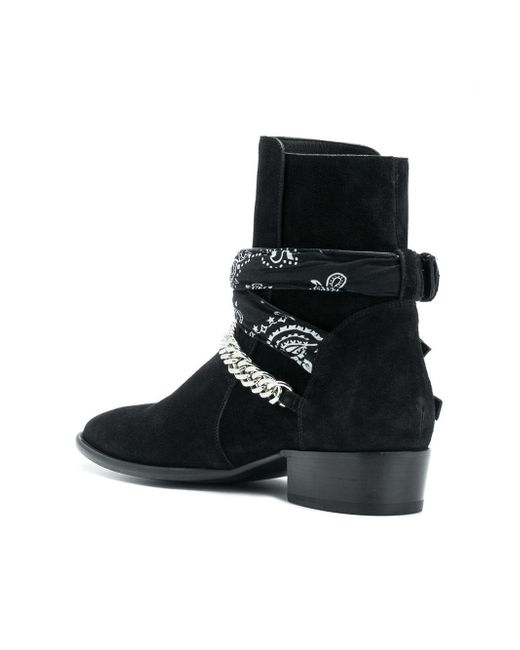 Amiri Suede Bandana Buckle Boots In Black For Men Save