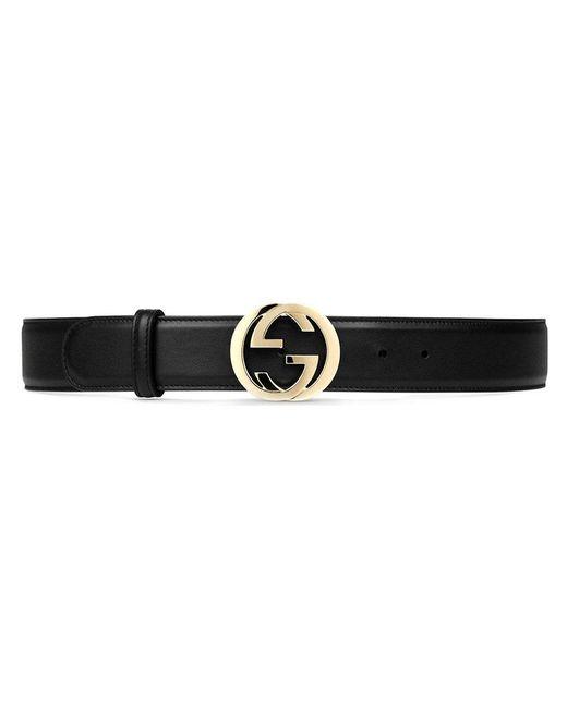 Gucci | Black Leather Belt With Interlocking G Buckle | Lyst