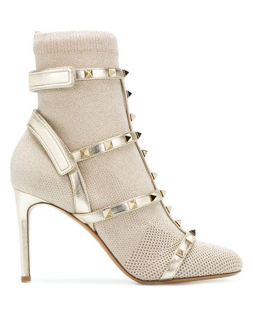 Valentino - Metallic Garavani Studded Boots - Lyst