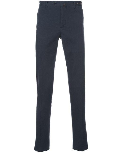 PT01 - Blue Stretch Canvas Slim Trousers for Men - Lyst