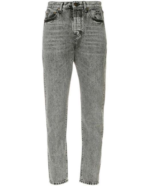 Saint Laurent - Gray High-waisted Cropped Jeans - Lyst