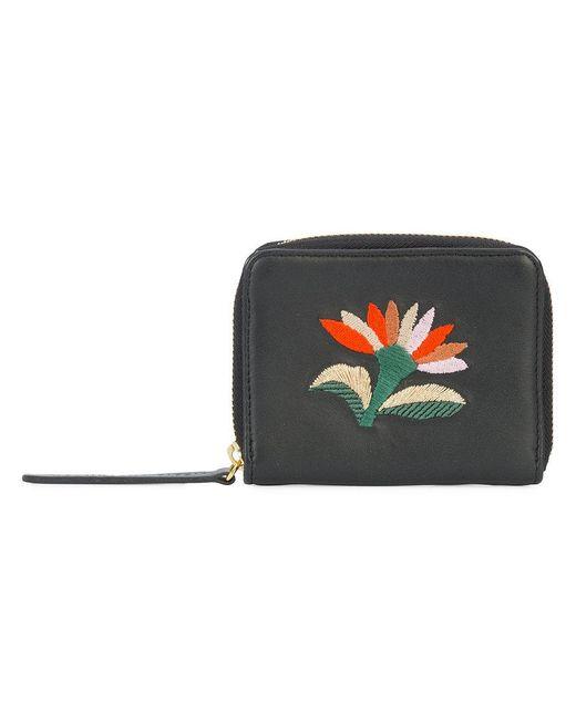 Lizzie Fortunato | Black Embroidered Flower Zip Purse | Lyst