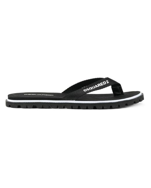62aa495bf Lyst - DSquared² Logo Flip Flops in Black for Men - Save 68%