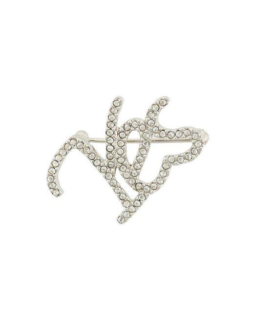 Isabel Marant | Metallic Yes Crystal-embellished Brooch | Lyst