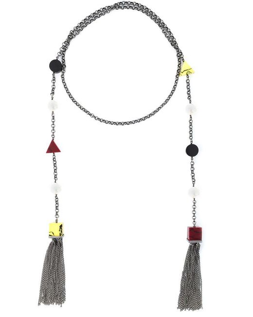 Eshvi - Metallic 'back To School' Tassel Necklace - Lyst