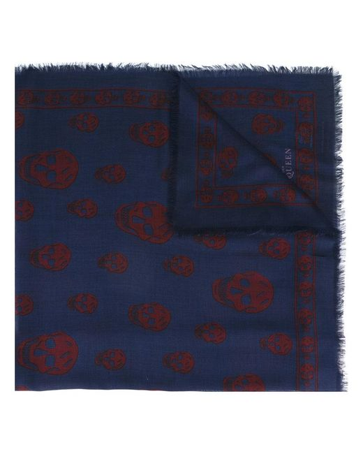 Alexander McQueen | Blue Skull Scarf for Men | Lyst
