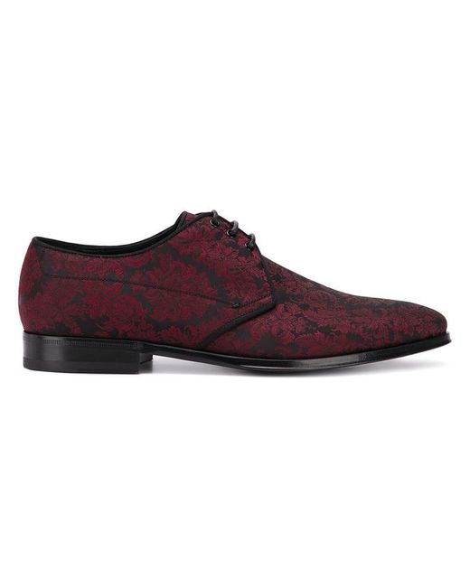 Dolce & Gabbana - Red Schnürschuhe aus Brokat for Men - Lyst