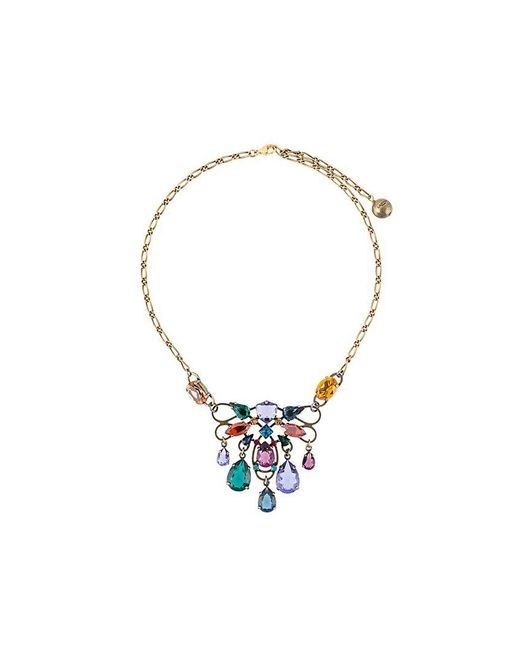 Lanvin - Metallic Short Clustered Stone Necklace - Lyst