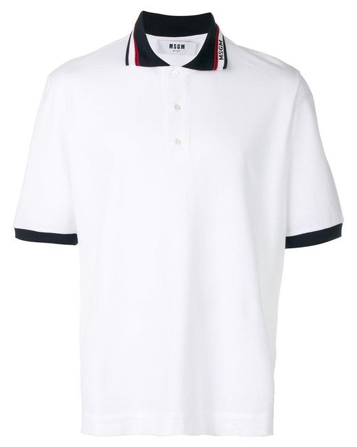 MSGM - White Logo Polo Shirt for Men - Lyst