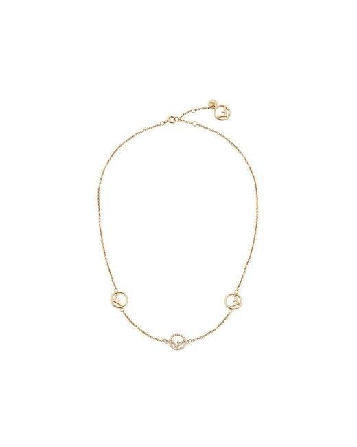Fendi | Metallic Short Logo Charm Necklace | Lyst