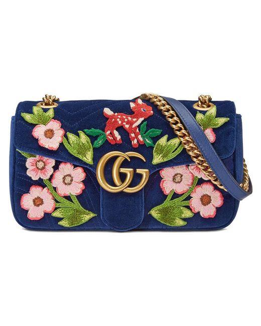 693c87aed50 Lyst - Petit sac porté épaule GG Marmont Gucci en coloris Bleu