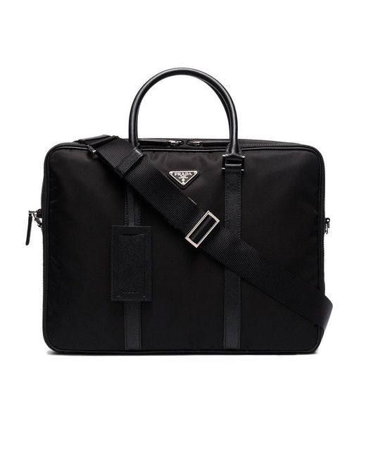 5761c53cc9fe Browse stores. Prada - Black Logo Plaque Briefcase for Men - Lyst ...