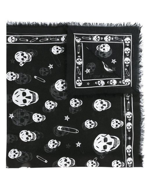 Alexander McQueen - Black Skull Patterned Scarf for Men - Lyst