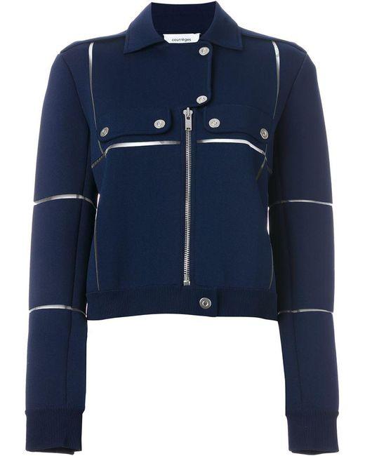 Courreges | Blue Panelled Biker Jacket | Lyst
