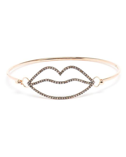Rosa De La Cruz | Multicolor 18k Rose Gold And Brown Diamond Lips Bangle | Lyst