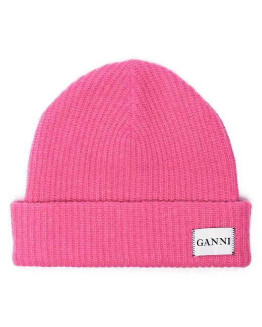 0494cc4d7d207 Ganni Pink Knitted Logo Beanie in Pink - Save 16% - Lyst