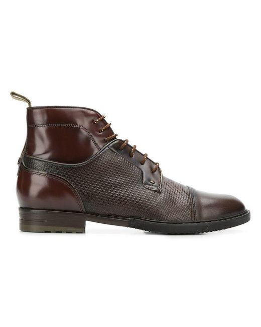 Brimarts - Brown Pebbled Lace-up Boots for Men - Lyst
