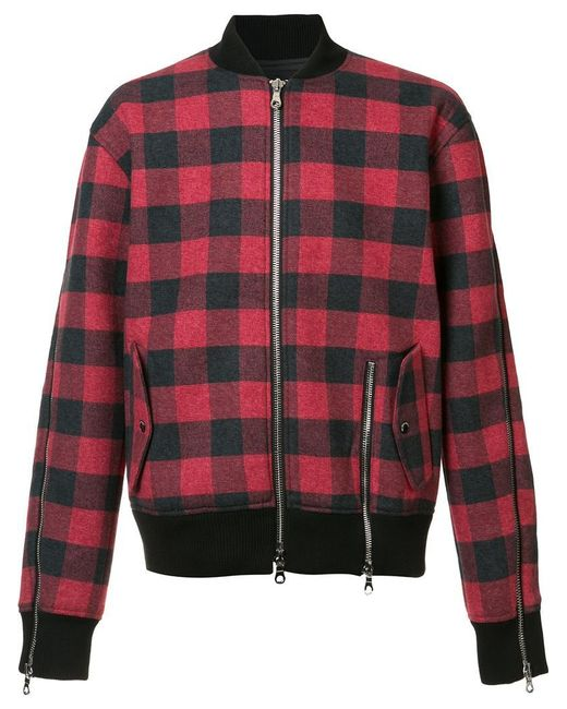 Mostly Heard Rarely Seen - Red Plaid Bomber Jacket for Men - Lyst