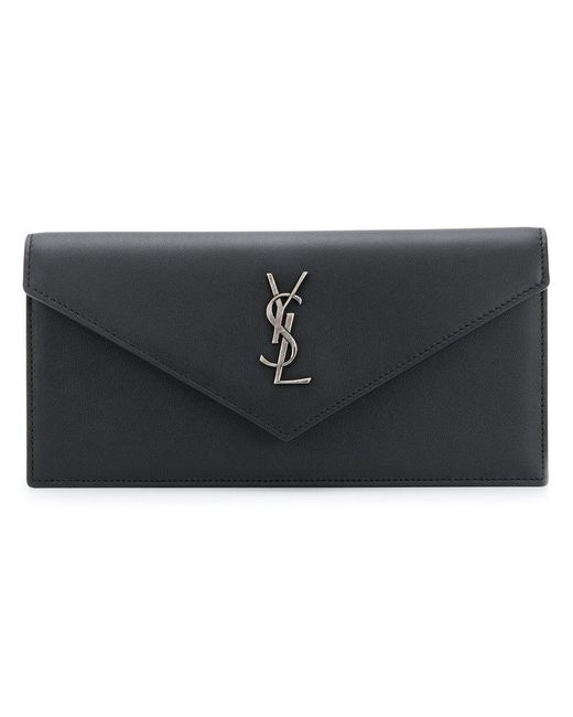 d08954b1d5 Saint Laurent - Black Monogram Envelope Clutch Bag - Lyst ...
