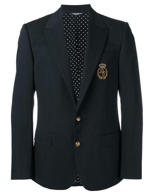 Dolce & Gabbana | Black Logo Crown Blazer for Men | Lyst