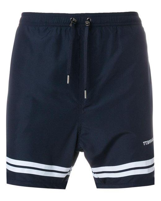 Neil Barrett - Blue Stripe Hem Swim Shorts for Men - Lyst