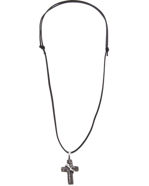 Gavello | Black Diamond Embellished Cross Necklace | Lyst