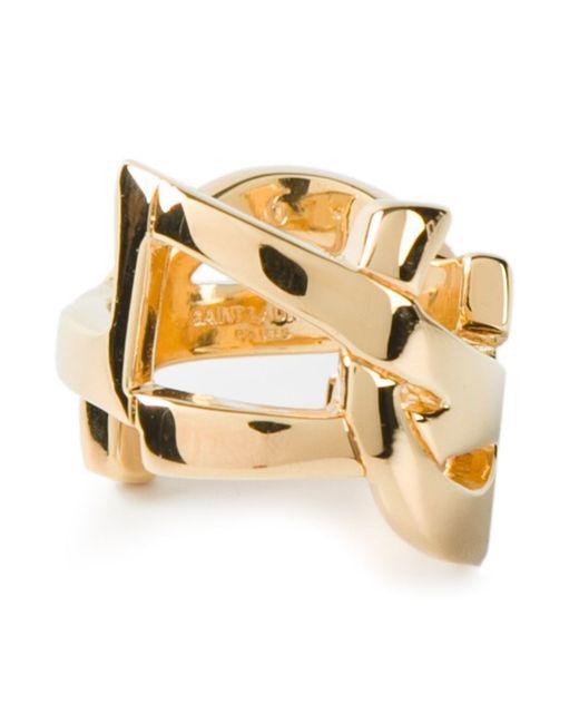 Saint Laurent | Metallic 'monogram' Ring | Lyst
