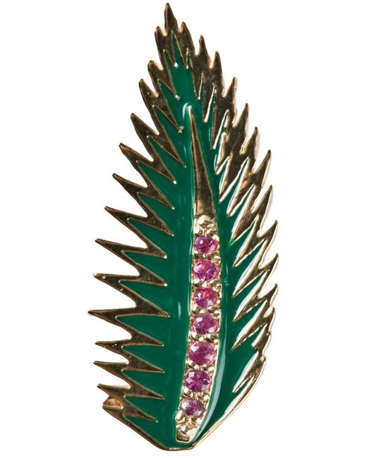 Alison Lou | Green Palm Leaf Earring | Lyst