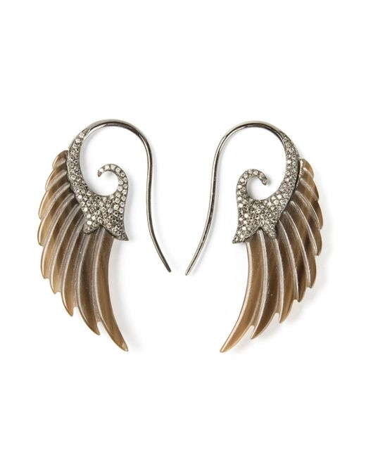 Noor Fares | Brown Diamond Wing Earrings | Lyst