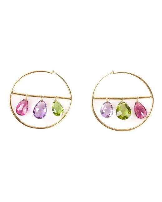 Marie-hélène De Taillac | Metallic 22kt Gold Drop Gemstone Hoop Earrings | Lyst