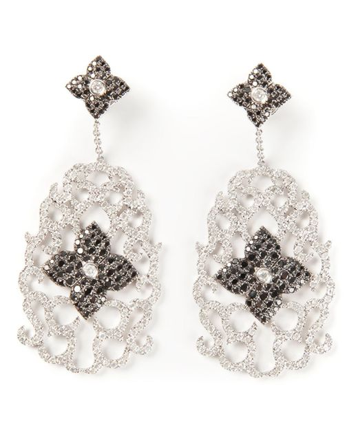 Elise Dray | White Diamond Floral Pavé Earrings | Lyst