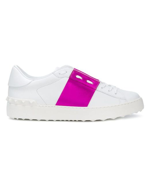 Valentino - White Open Leather Low-Top Sneakers - Lyst