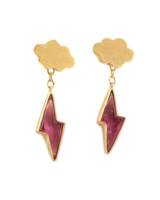 Marie-hélène De Taillac | Metallic 22kt Gold Cloud & Pink Tourmaline Lightning Bolt Earrings | Lyst