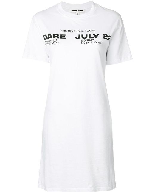 McQ Alexander McQueen - White Poison Youth Tour Date T-shirt Dress - Lyst