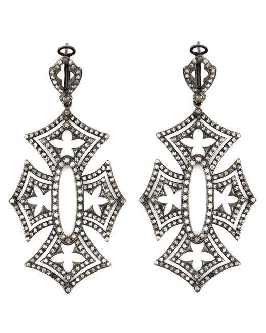 Loree Rodkin | Black 'shadow Cross' Diamond Earrings | Lyst