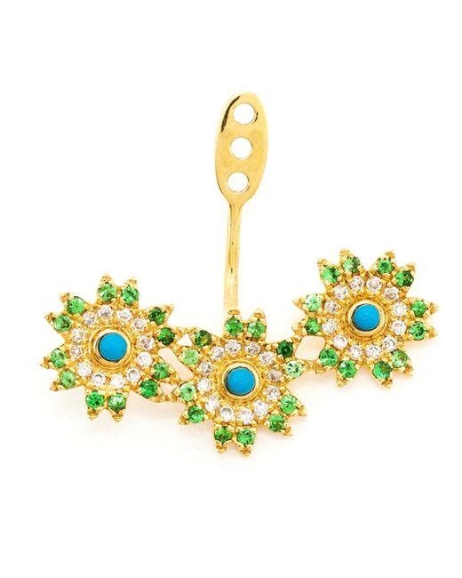 Yvonne Léon | Blue 18kt Gold Triple Flower Lobe Earring | Lyst
