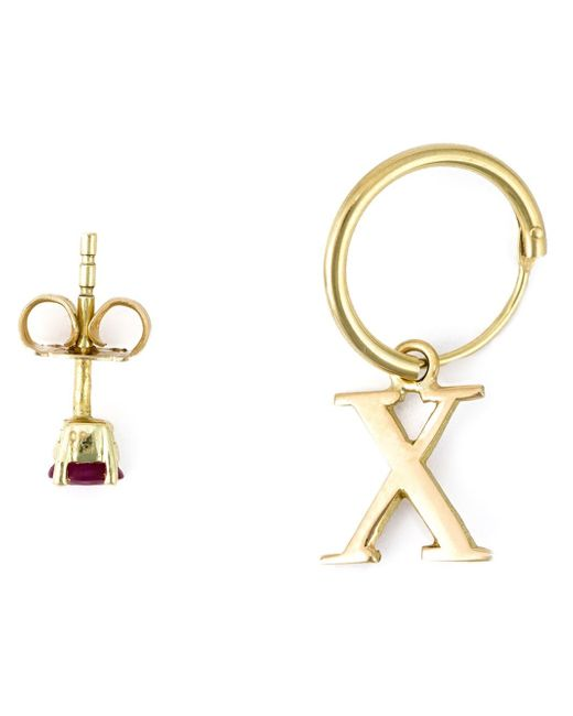 Wouters & Hendrix | Metallic X Hoop & Ruby Stud Set Of Earrings | Lyst
